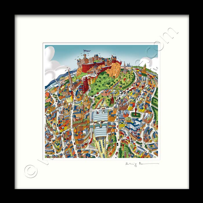 Square Mounted Art Print - Edinburgh - Full Colour (Signed)