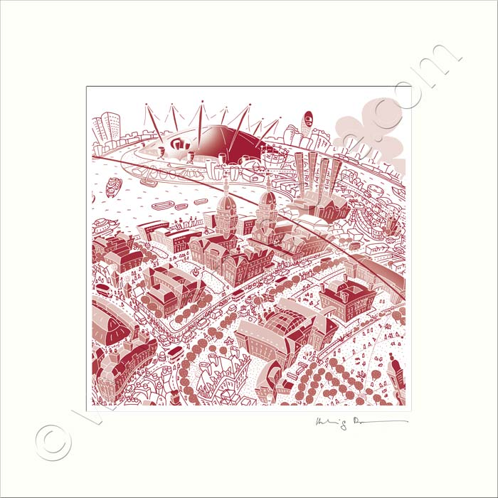 Square Mounted Art Print - Maritime Greenwich - Red (Signed)