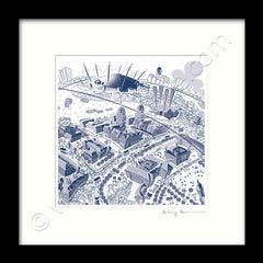 Square Mounted Art Print - Maritime Greenwich - Blue (Signed)