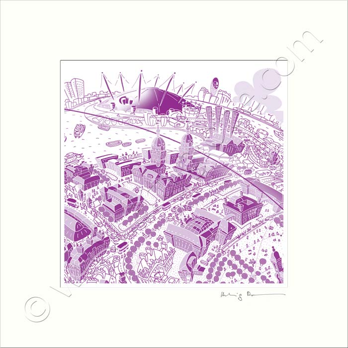 Square Mounted Art Print - Maritime Greenwich - Purple (Signed)