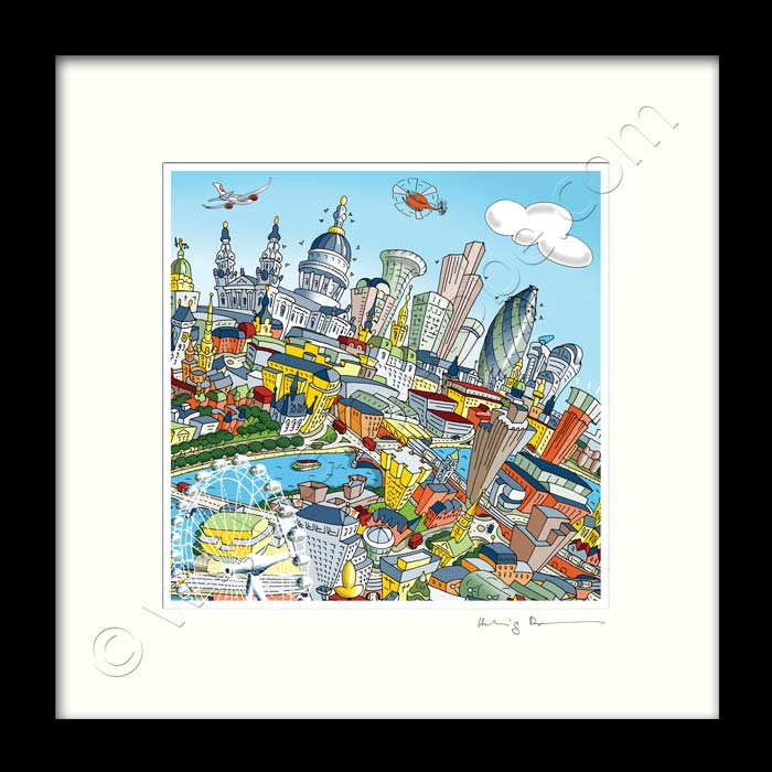 Square Mounted Art Print - The City of London - Full Colour (Signed)