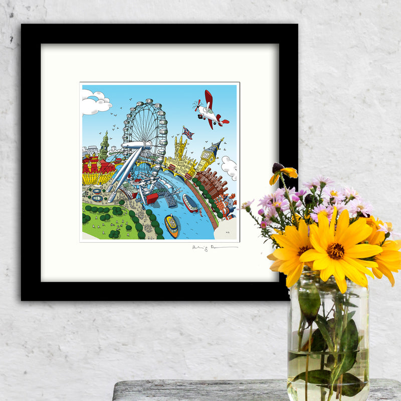 Square Mounted Art Print - The London Eye - Full Colour (Signed)
