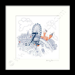 Square Mounted Art Print - The London Eye - Graphic Line (Signed)