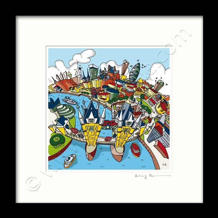 Square Mounted Art Print - London Tower Bridge - Full Colour (Signed)