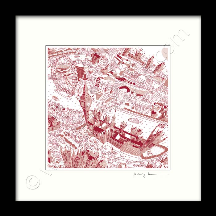 Square Mounted Art Print - London Around Westminster - Red (Signed)