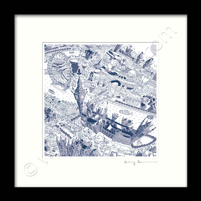 Square Mounted Art Print - London Around Westminster - Blue (Signed)