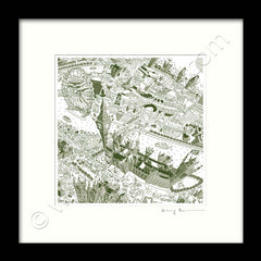 Square Mounted Art Print - London Around Westminster - Green (Signed)