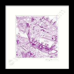 Square Mounted Art Print - London Around Westminster - Purple (Signed)