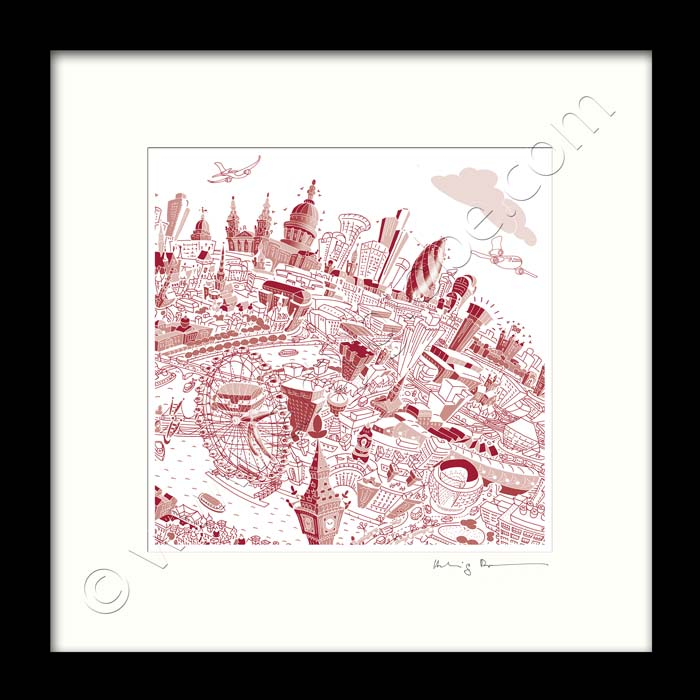 Square Mounted Art Print - London Skyline - Red (Signed)