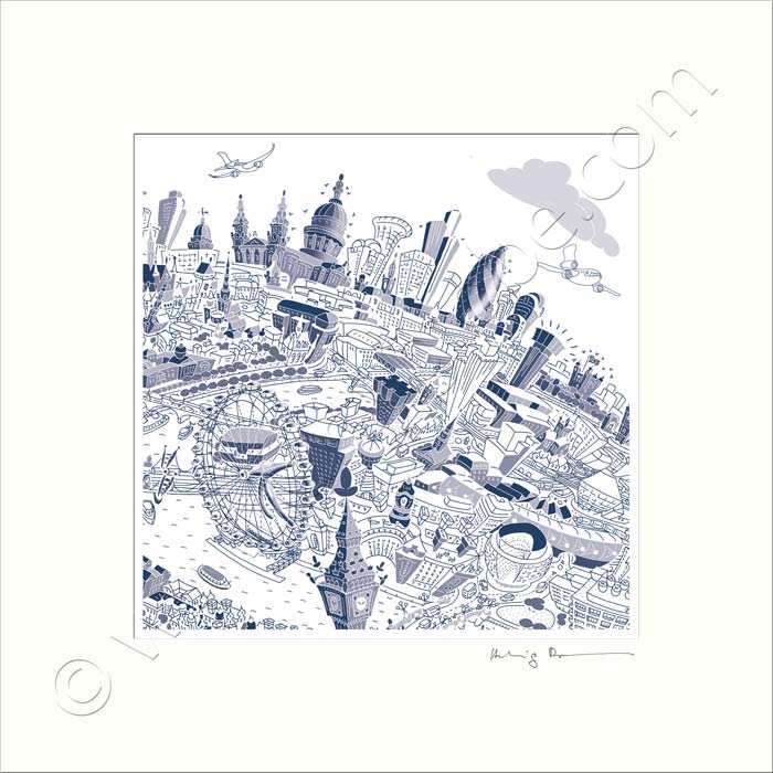 Square Mounted Art Print - London Skyline - Blue (Signed)