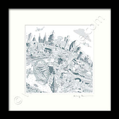 Square Mounted Art Print - London Skyline - Teal (Signed)