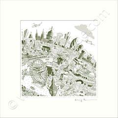 Square Mounted Art Print - London Skyline - Green (Signed)