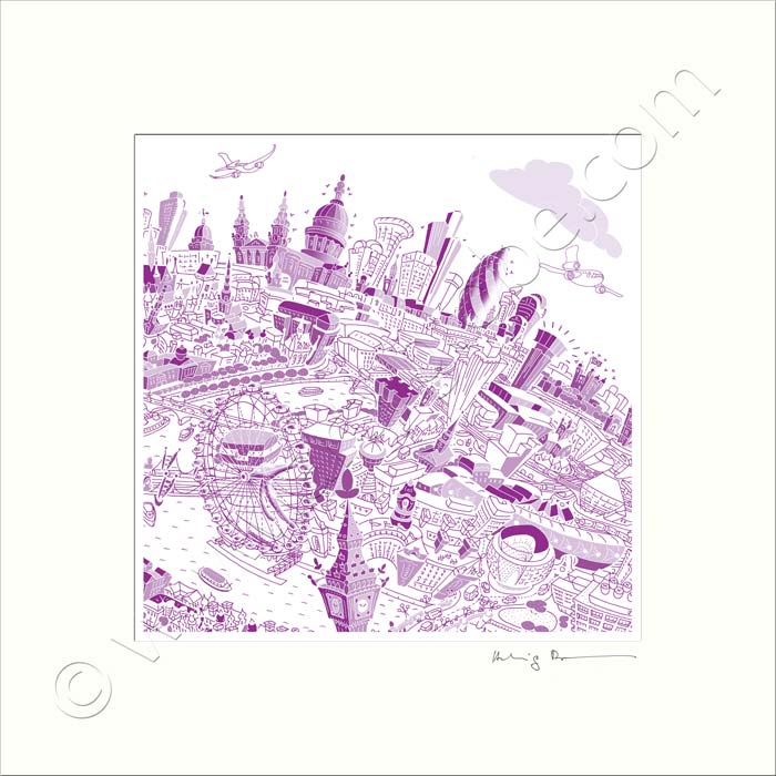 Square Mounted Art Print - London Skyline - Purple (Signed)