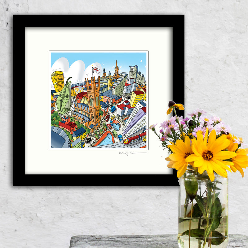 Square Mounted Art Print - Manchester Around The Cathedral - Full Colour (Signed)
