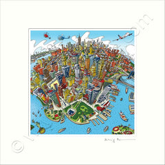 Square Mounted Art Print - New York - Full Colour (Signed)