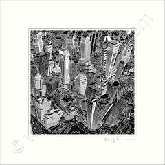 Square Mounted Art Print - New York, Manhattan - Black & White (Signed)
