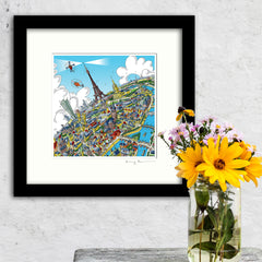 Square Mounted Art Print - Eiffel Tower - on Green (Signed)