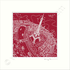 Square Mounted Art Print - Eiffel Tower - on Red (Signed)