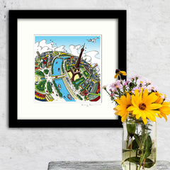 Square Mounted Art Print - Eiffel Tower - Full Colour (Signed)