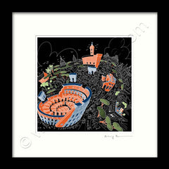 Square Mounted Art Print - Rome Colosseum - on Black (Signed)