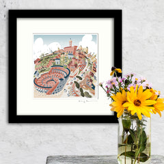 Square Mounted Art Print - Rome Colosseum - Pastel Shades (Signed)