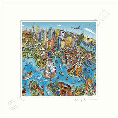 Square Mounted Art Print - Sydney Looking South - Full Colours (Signed)