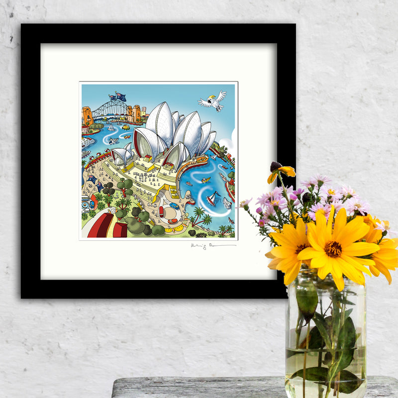 Square Mounted Art Print - London Skyline - Full Colour (Signed)