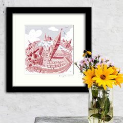 Square Mounted Art Print - Venice - Red & Blue (Signed)