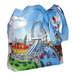 Large Hopsack Tote Bag - London Eye in Full Colour