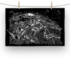 Cotton Tea Towel - Maritime Greenwich - Black & White