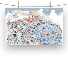 Cotton Tea Towel - Maritime Greenwich - Retro Colours