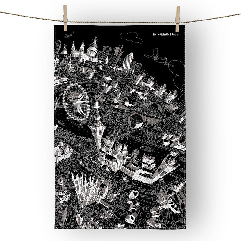 Cotton Tea Towel - London Looking East - Black & White (Portrait)