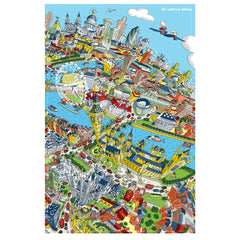 Cotton Tea Towel - London Looking East - Full Colour (Portrait)