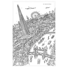 Cotton Tea Towel - London Around The Shard - Line Drawing (Portrait)