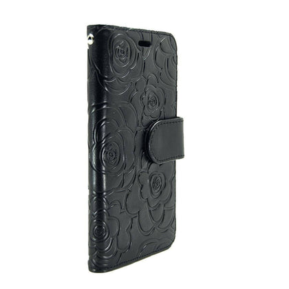 Rose Wallet Case for iPhone 5 - Black