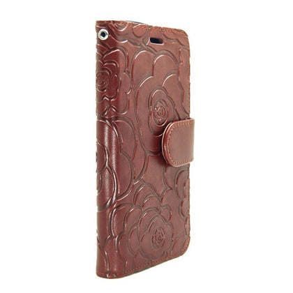 Rose Wallet Case for iPhone 5 - Brown