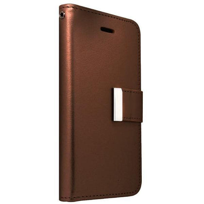 Leather Wallet Case for S6EP - Brown