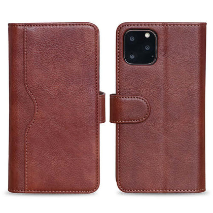 V-Wallet Leather Case For iPhone  11 Pro - Brown