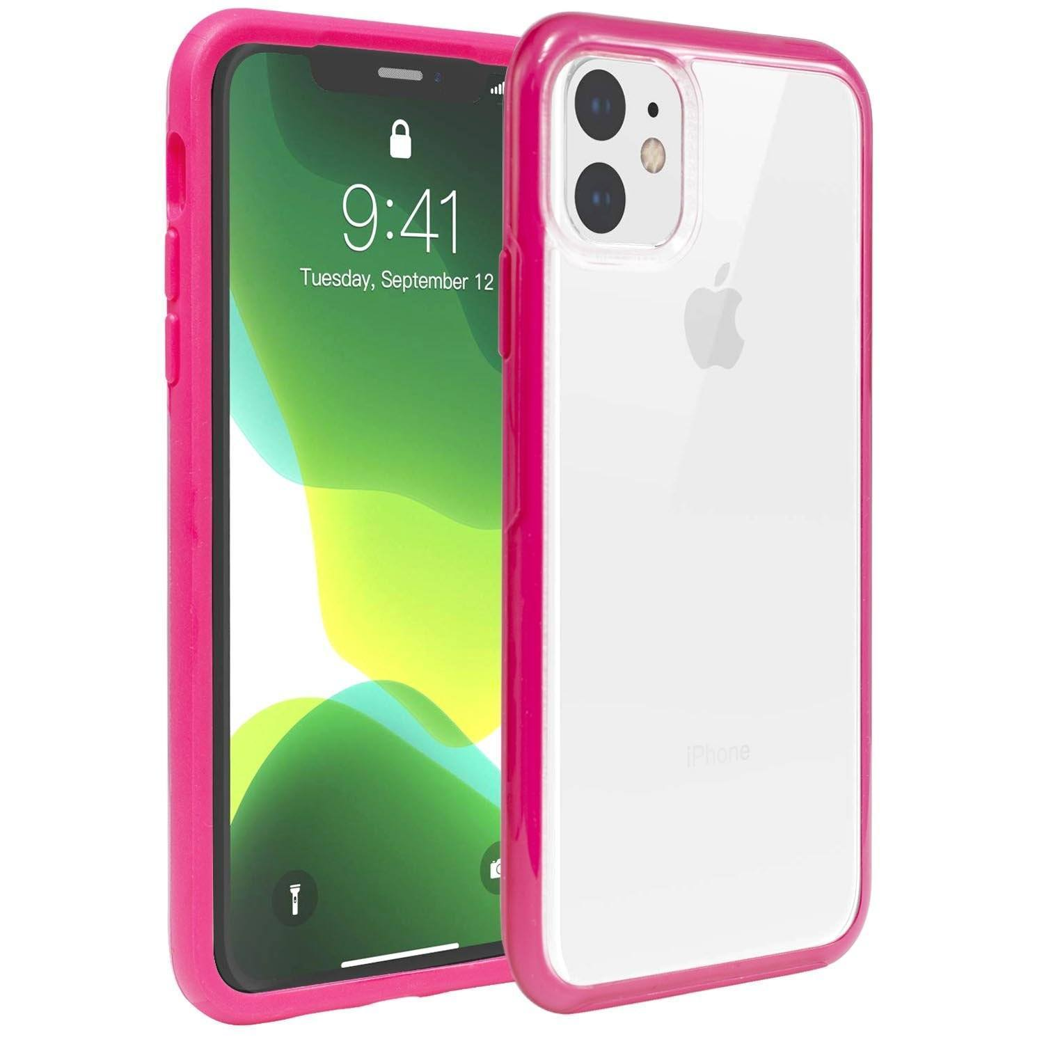Hard Shell Transparent Back Case for iPhone 11 Pro - Magenta Edge