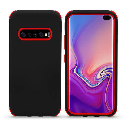 Bumper Hybrid Combo Layer Protective Case for Samsung Galaxy S10 Plus - Black & Red