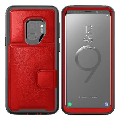 Dual Leather Card Case for Galaxy S9 Plus - Red