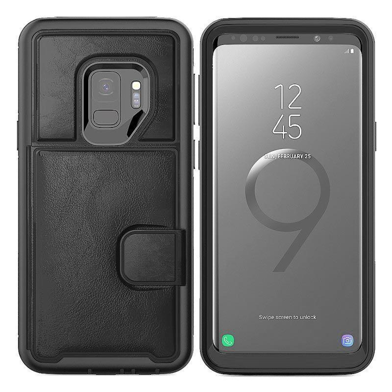 Dual Leather Card Case for Galaxy S9 Plus - Black