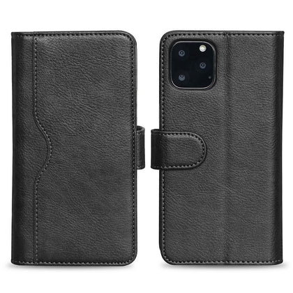 V-Wallet Leather Case For iPhone  11 Pro - Black