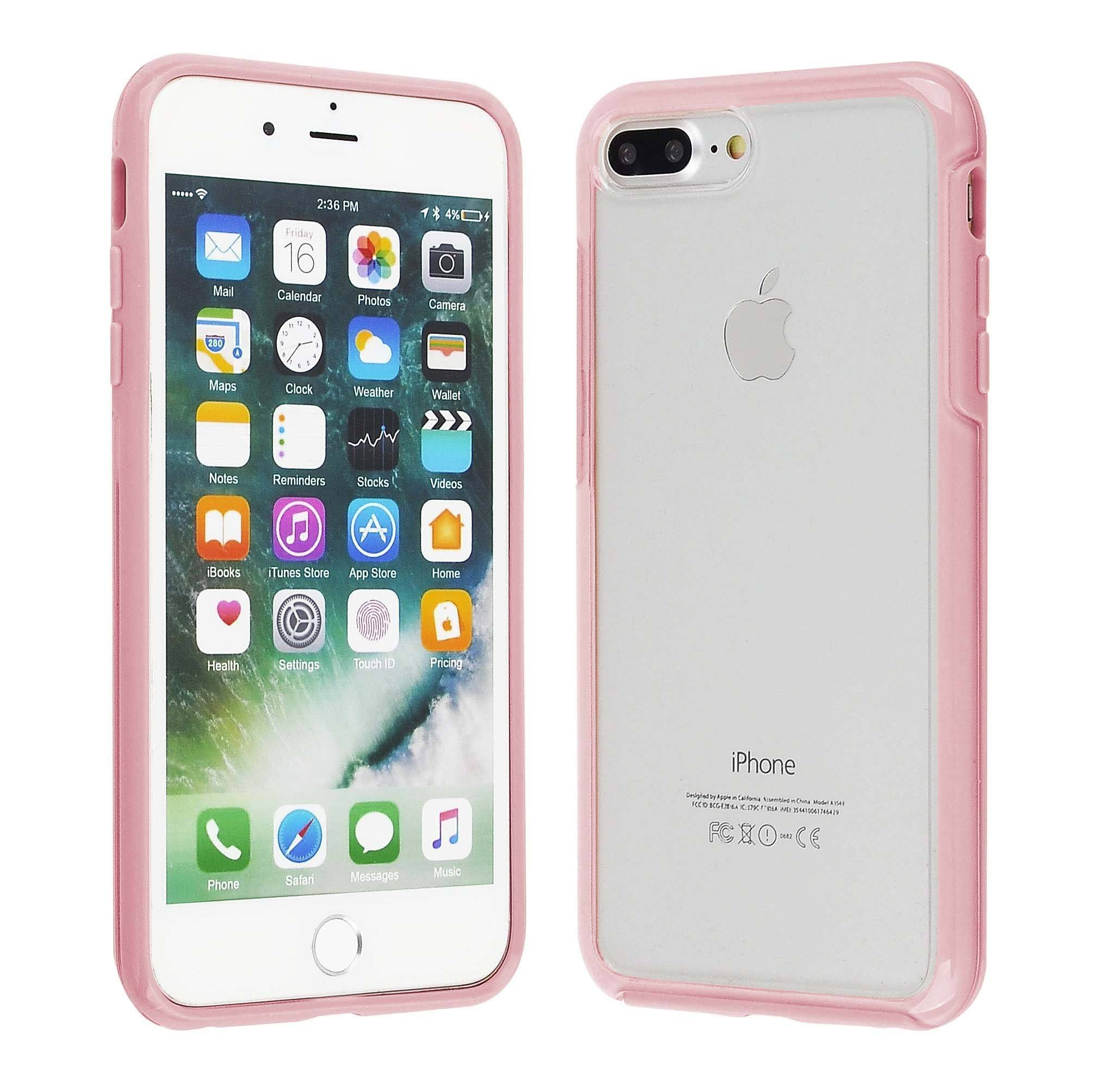 Hard Shell Transparent Back Case for iPhone 8/7/6 Plus - Pink Edge