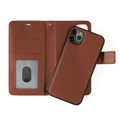 Classic Magnet Wallet Case For iPhone  11 Pro - Brown
