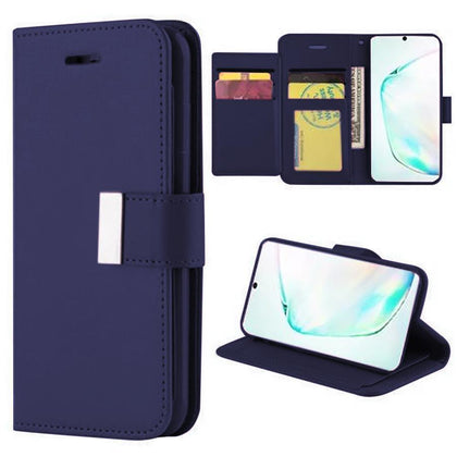 Flip Leather Wallet Case For Samsung Galaxy Note 10 Plus - Dark Blue