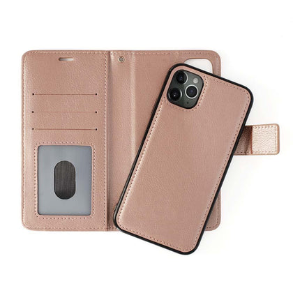 Classic Magnet Wallet Case For iPhone  11  Pro Max - Rose Gold