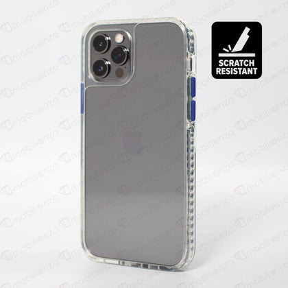 Scratch-Resistant Case for iPhone 12 / 12 Pro (6.1) - Clear w/ Dark Blue Button