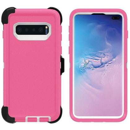 DualPro Protector Case for Samsung S10 Plus - Pink & White