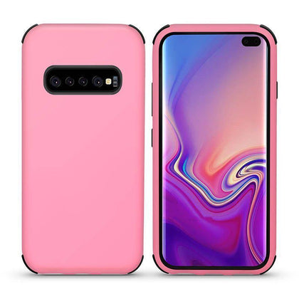 Bumper Hybrid Combo Layer Protective Case for Samsung Galaxy S10 Plus - Light Pink & Black